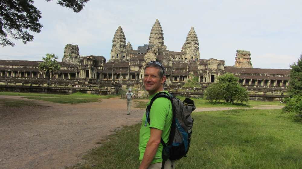 Peter outside Angkor Wat on Cambodia by bike tour