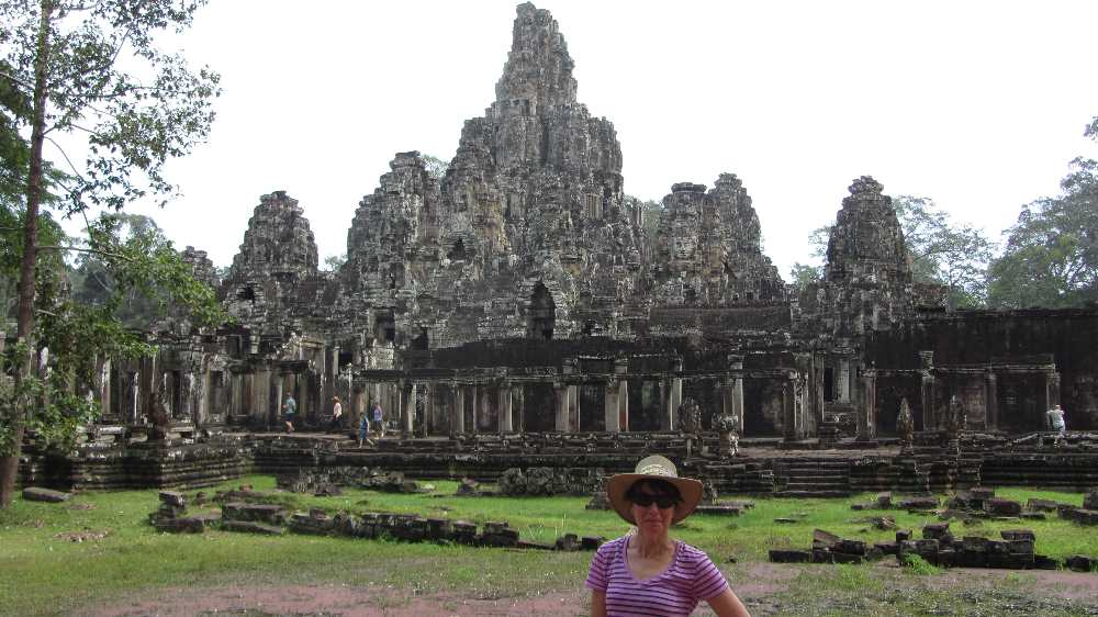 Bayon Temple on Cambodia by bike tour